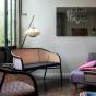 Cavallo Sofa, Grey Velvet with Black Lacquered Frame