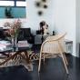 Cavallo Armchair, Brick Red Velvet with Natural Frame