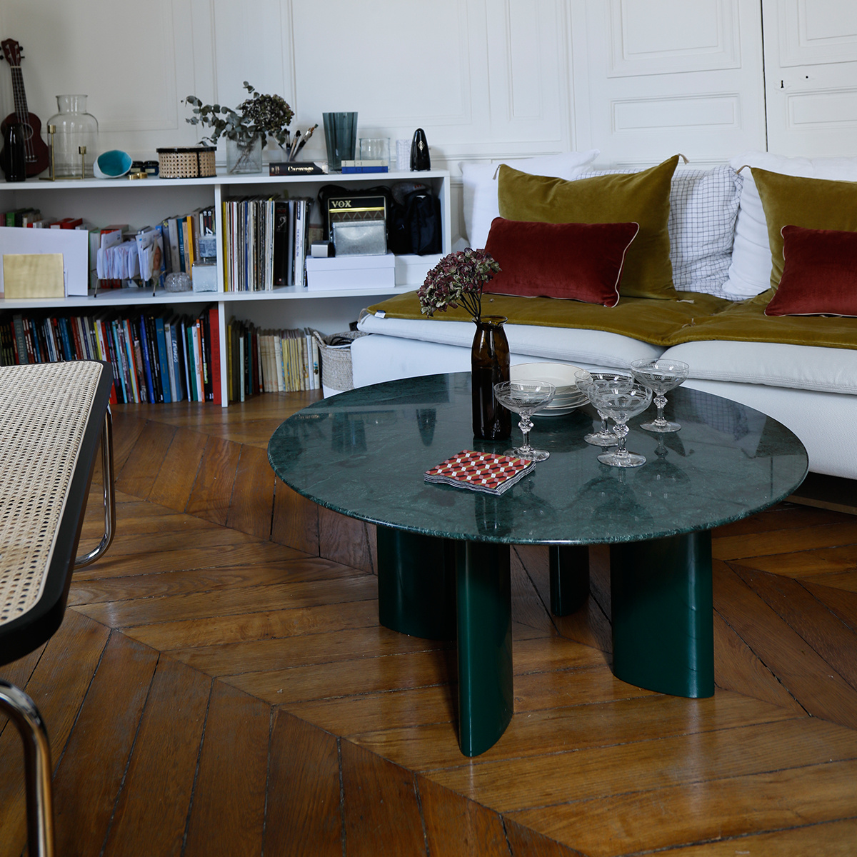 Carlotta Coffee Table Green Marble Top And Green Legs