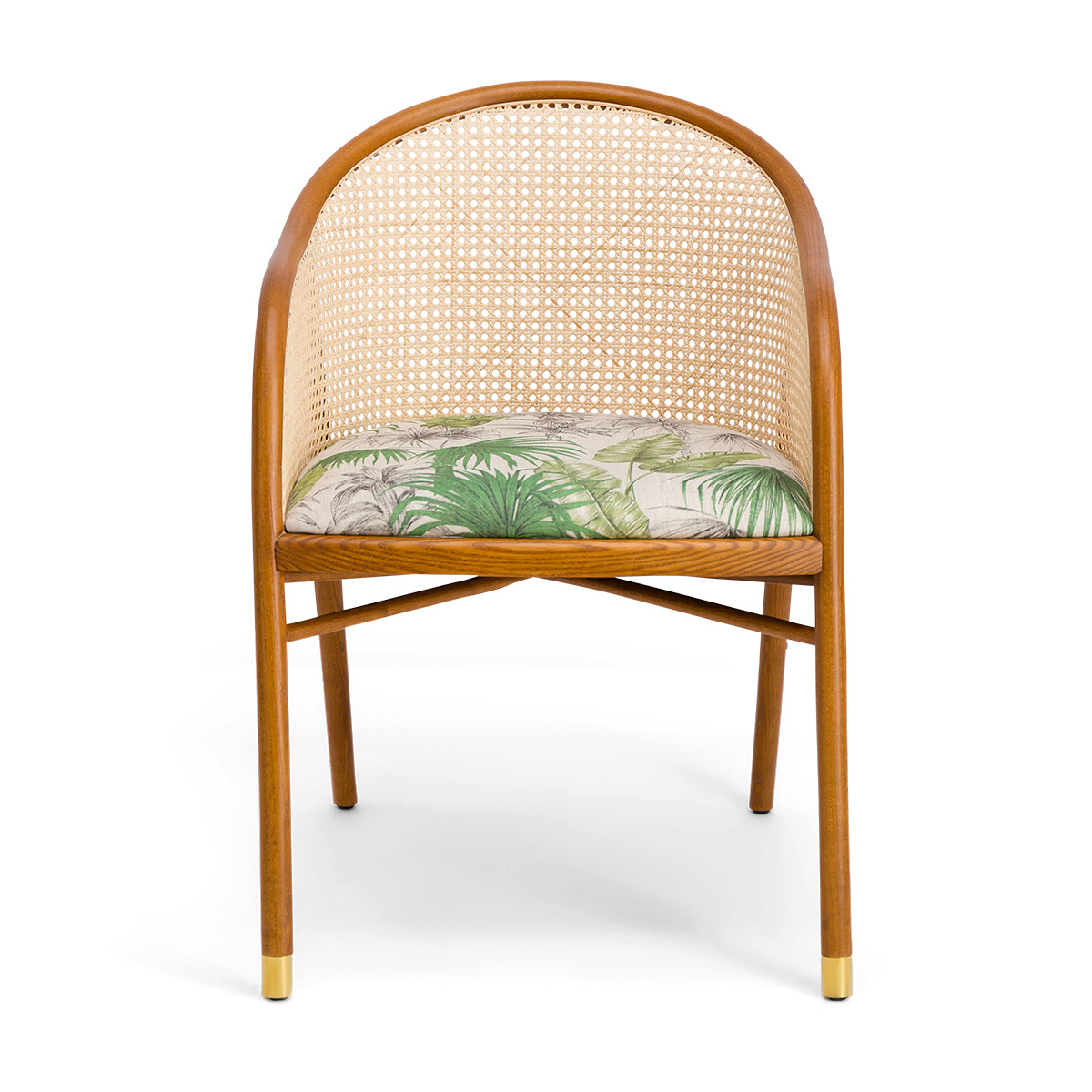 Cavallo Armchair, Banana Tree Print with Cherrywood Frame