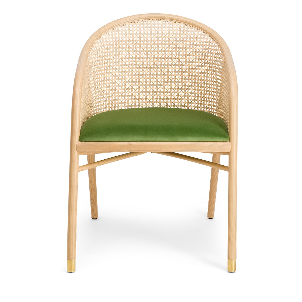 Cavallo Armchair, Almond Green Velvet with Natural Frame