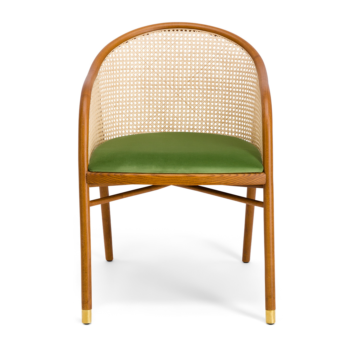 Cavallo Armchair, Almond Green Velvet with Cherrywood Frame