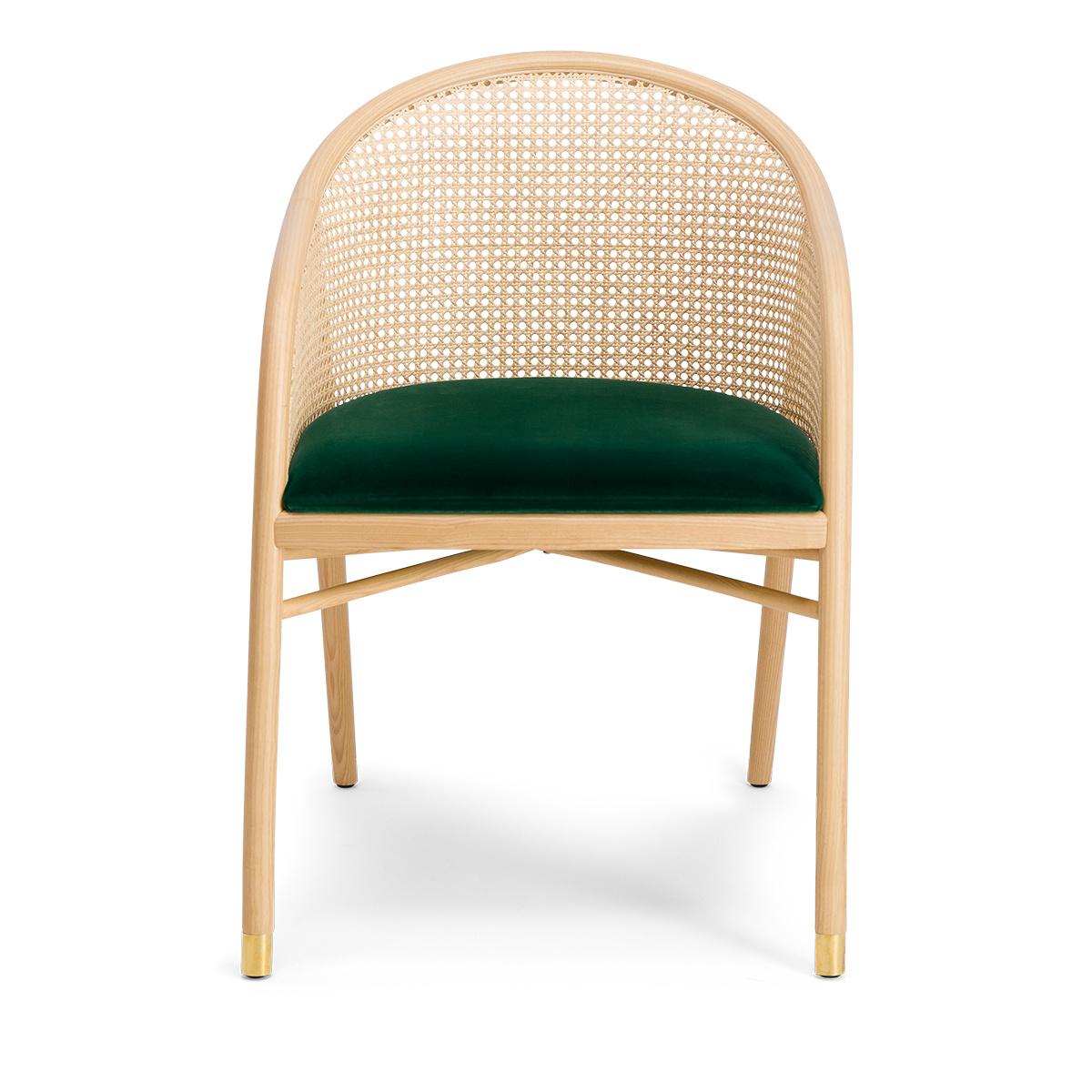 Cavallo Armchair, Fir Green Velvet with Natural Frame