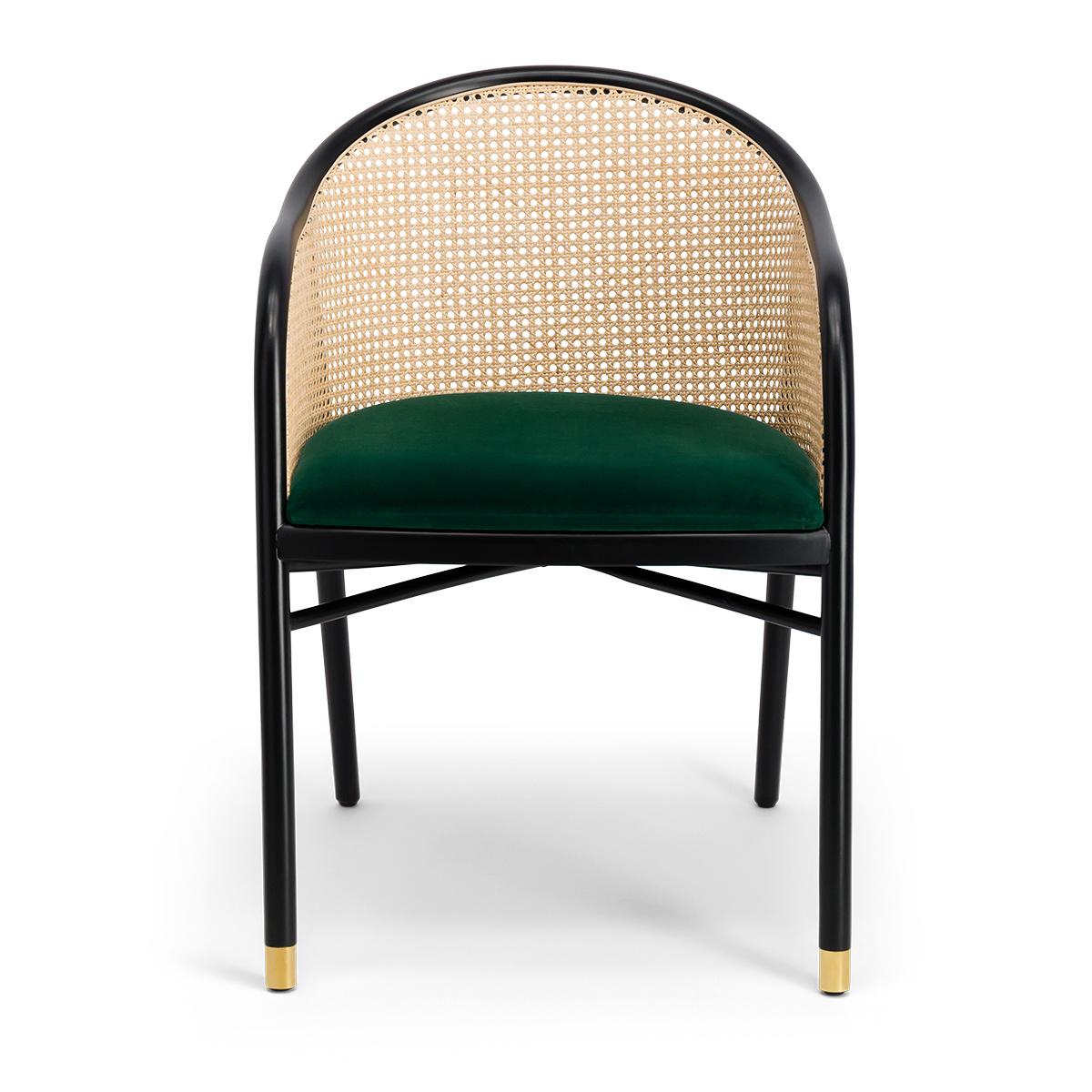 Cavallo Armchair, Fir Green Velvet with Black Lacquered Frame