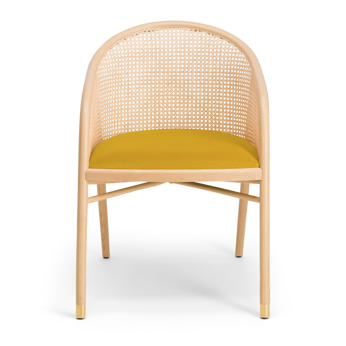 Cavallo Armchair, Yellow Velvet with Natural Frame