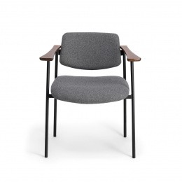 Pio Armchair, Grey Felt with Cherrywood Frame