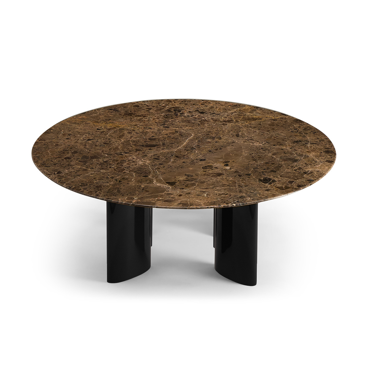 Carlotta Coffee Table, Brown Marble Top and Black Legs