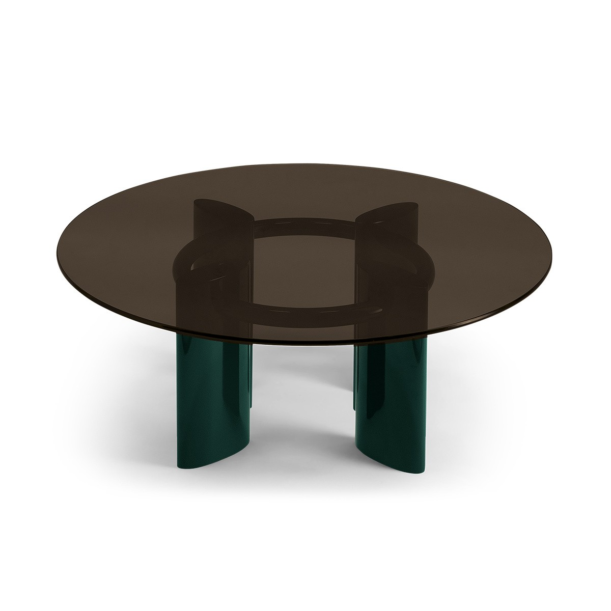 Carlotta Coffee Table, Smoked Glass Top and Green Legs