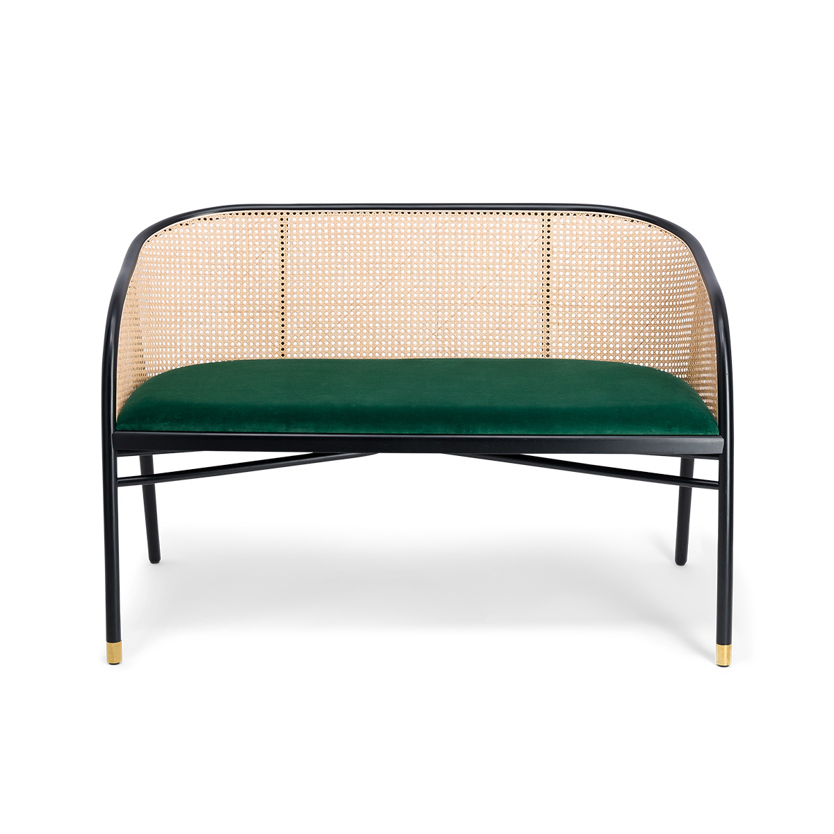 Incredible Cavallo Sofa Fir Green Velvet With Black Lacquered Beech Wood Frame And Natural Cane Machost Co Dining Chair Design Ideas Machostcouk