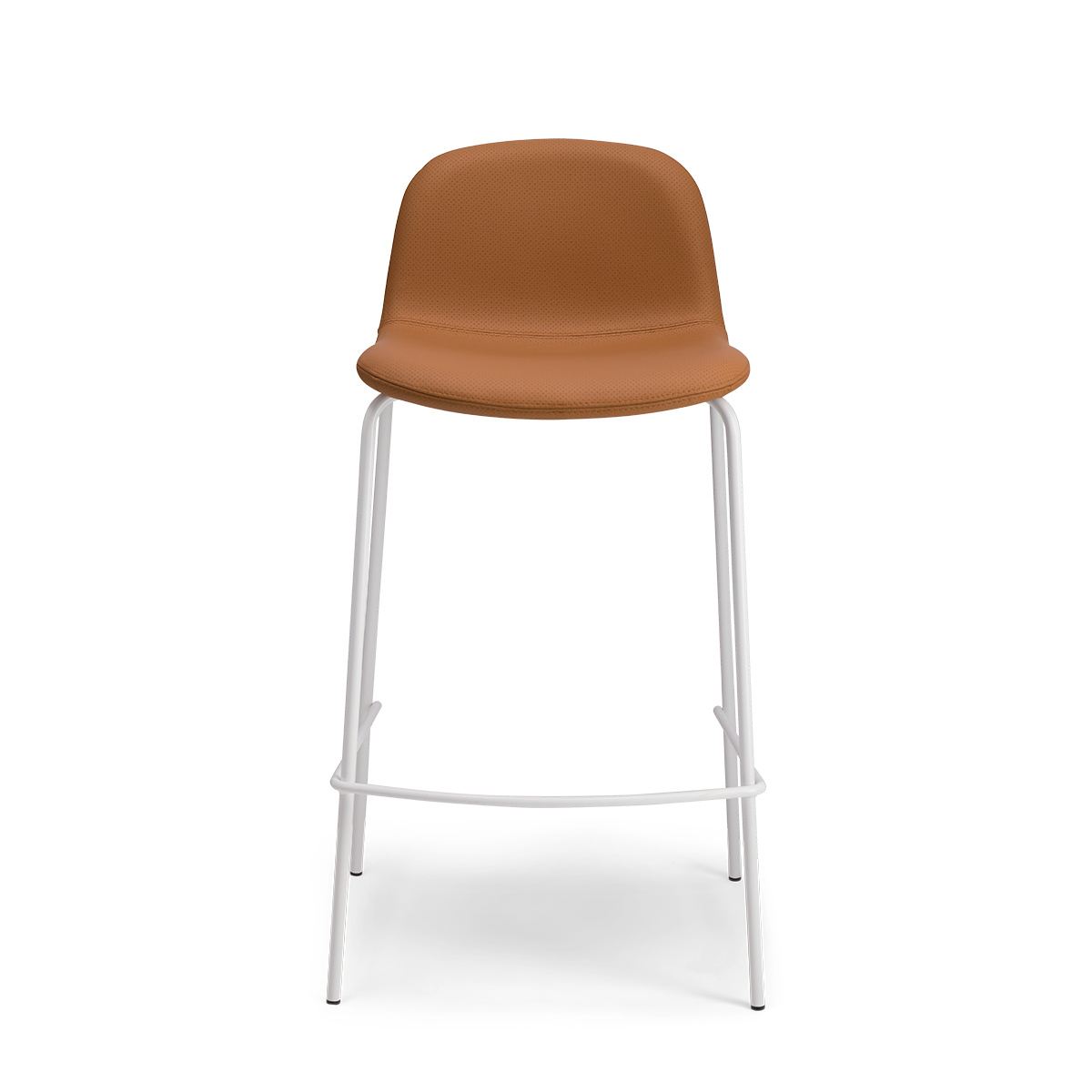 Monza barstool in caramel perforated leather with a white frame