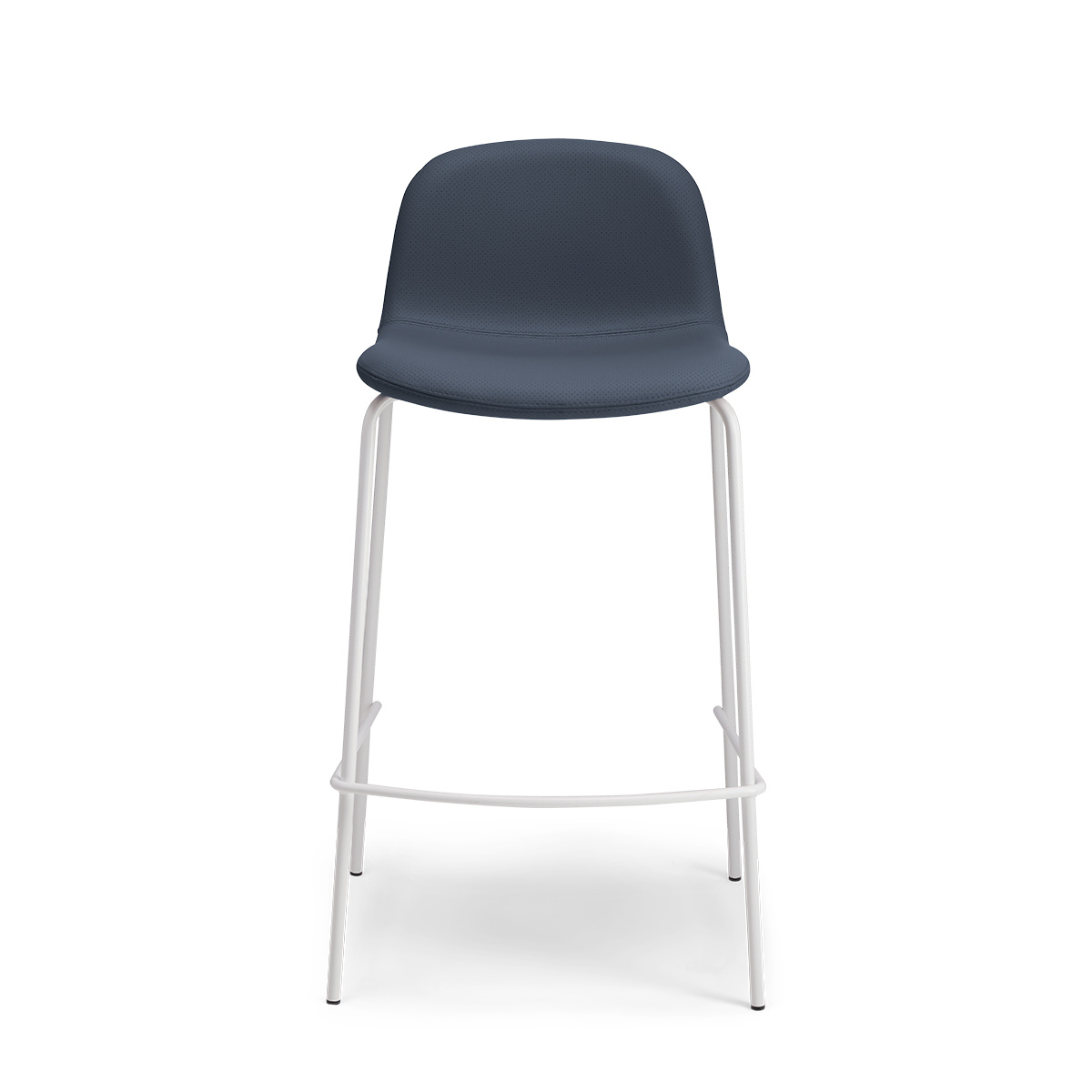 Monza barstool in blue perforated leather with a white frame