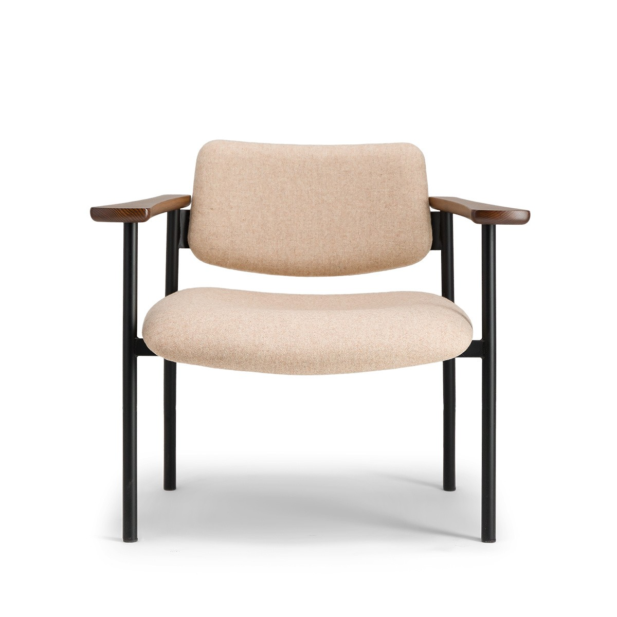 Pio armchair brown wood beige felt