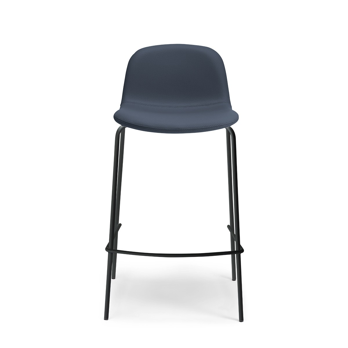 Monza barstool in blue perforated leather with a black frame