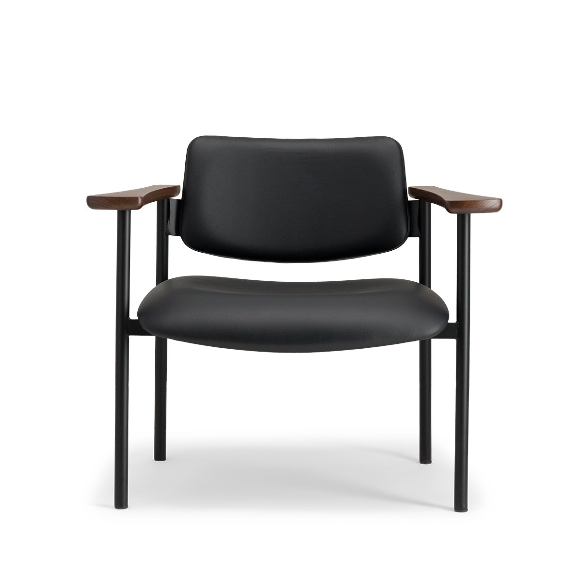 Pio armchair brown wood black leather