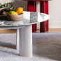 Carlotta coffee table, white marble top and cream white lacquered legs