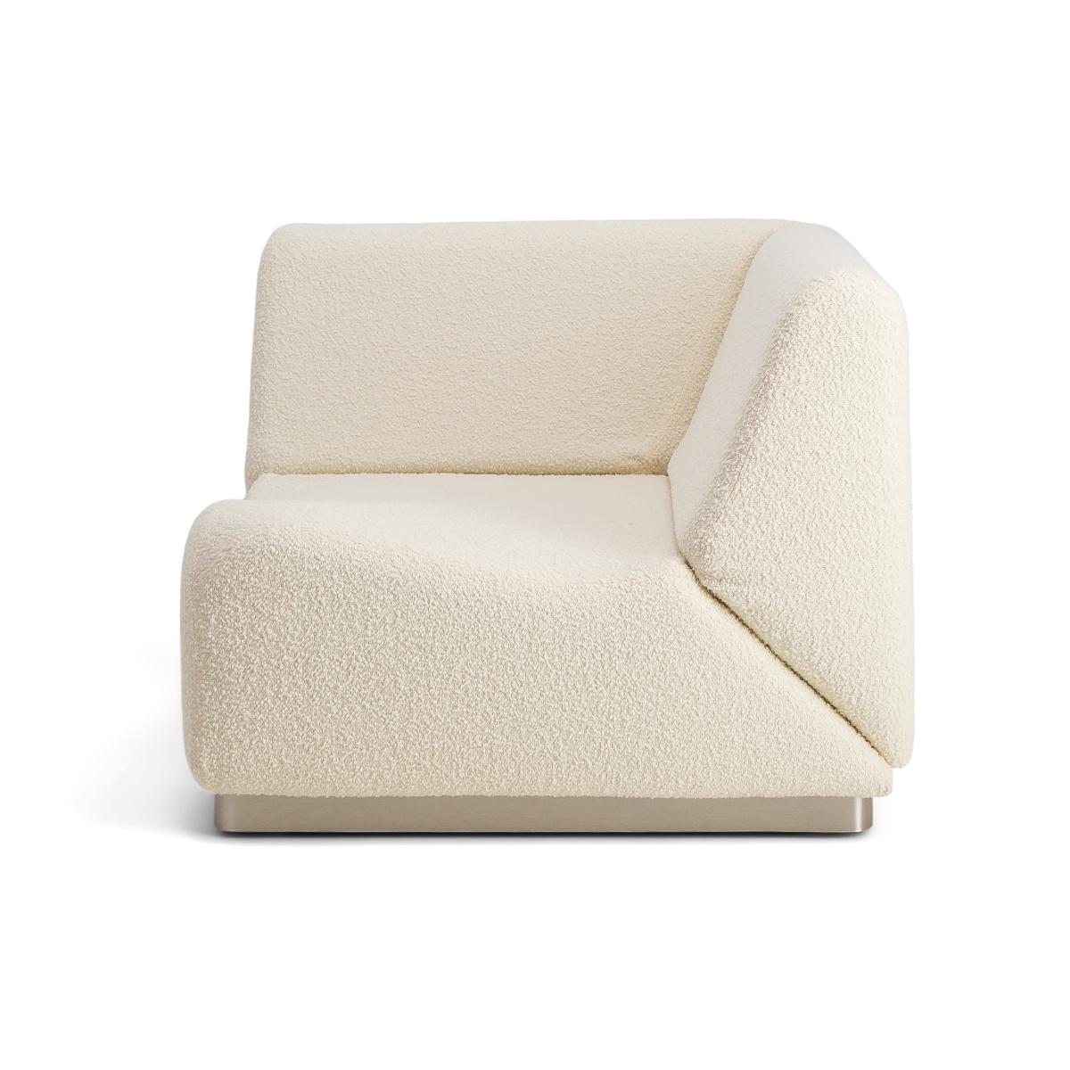 Rotondo Corner Module in Cream White Curly Wool
