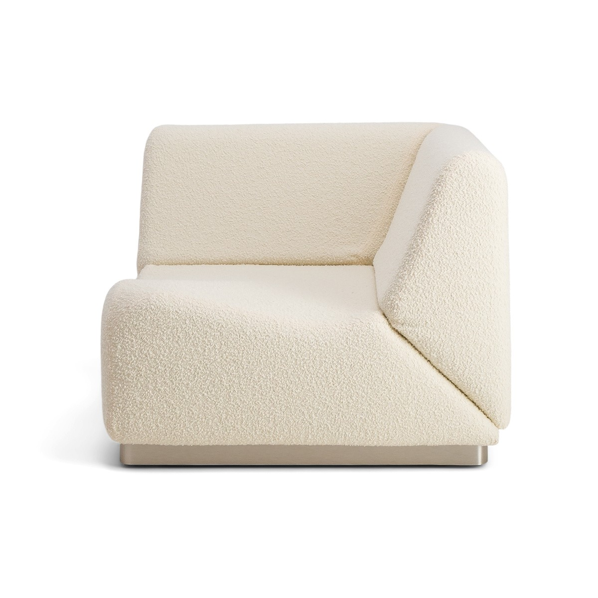 Rotondo Corner Module in Cream White Curly Wool