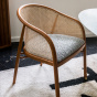 Cavallo Armchair, Black and White Curly Wool with Cherrywood Lacquered Frame