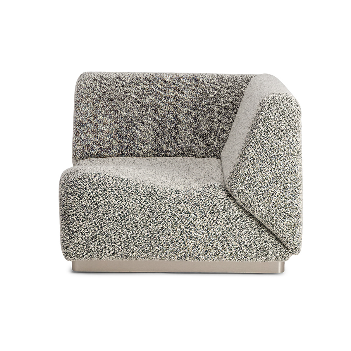Rotondo Corner Fireside Chair in Black and White Curly Wool