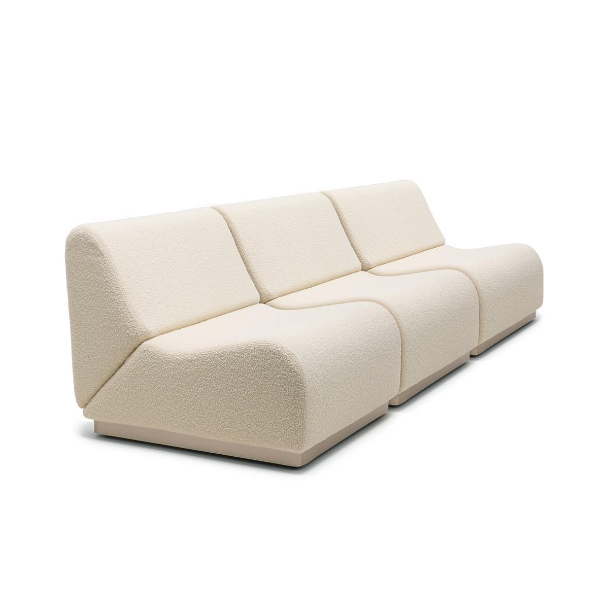 Rotondo modular sofa in cream white curly wool