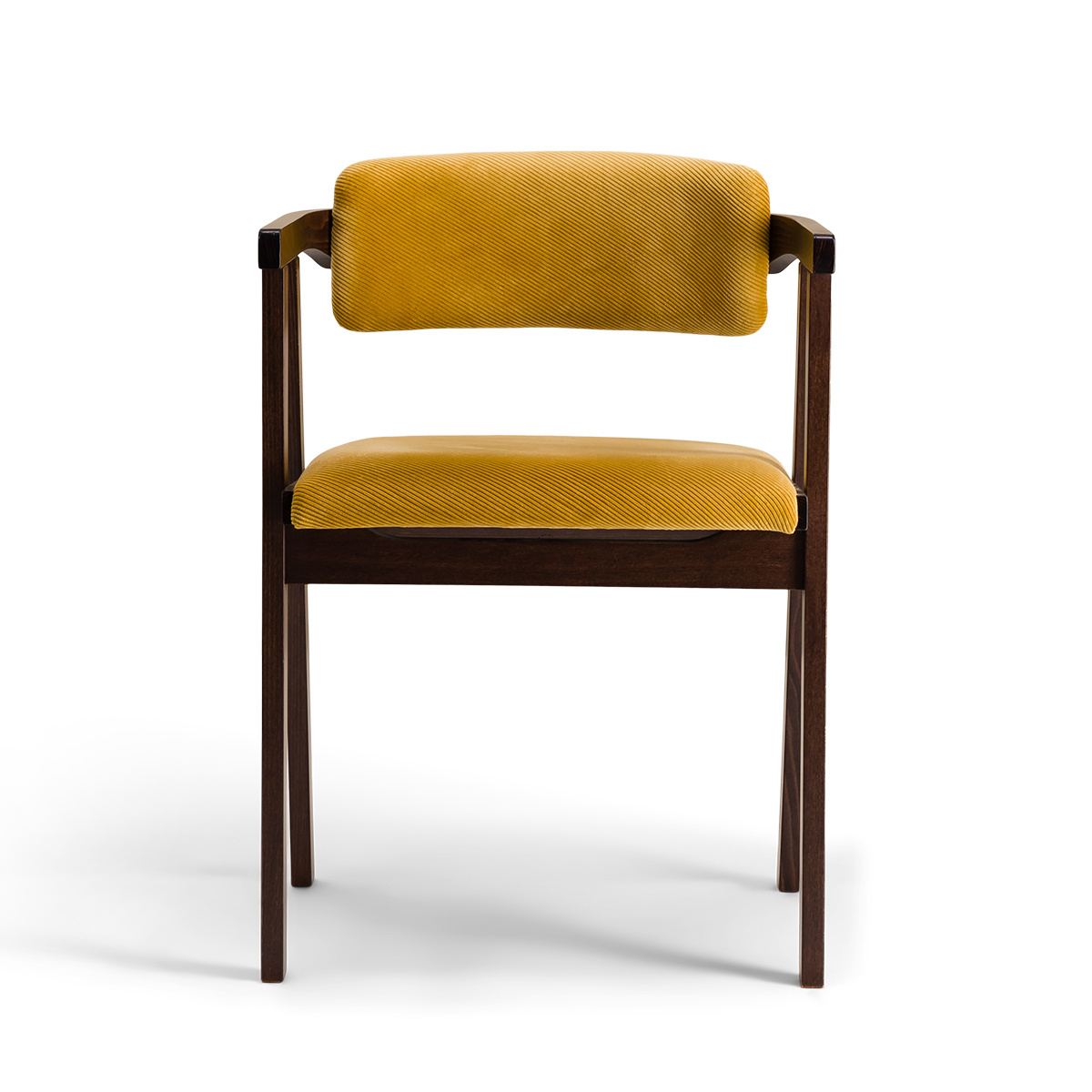 Milano Chair with Brown Wood and Mustard Corduroy