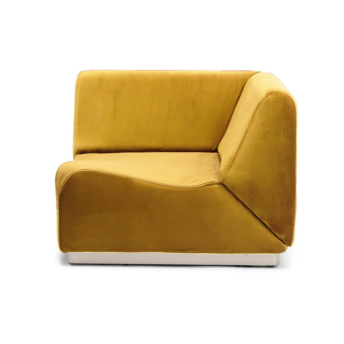Rotondo Corner Fireside Chair in Mustard Velvet