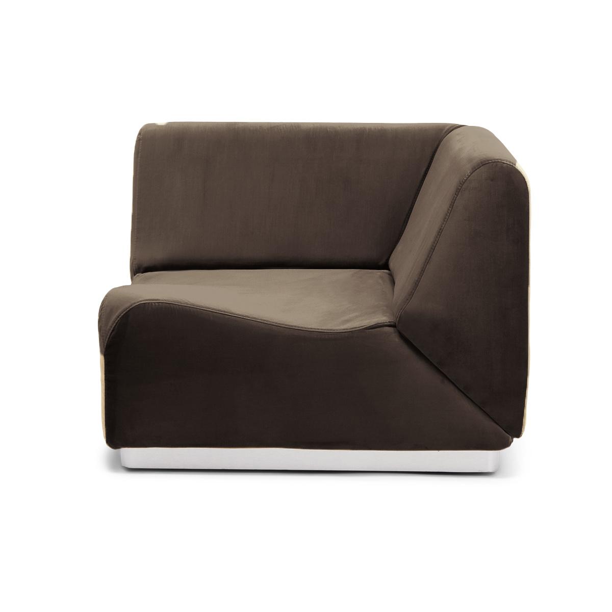 Rotondo Corner Fireside Chair in Taupe Velvet