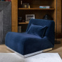 Rotondo Footstool in Night Blue Velvet