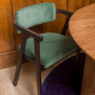 Milano Chair with Brown Wood and Almond Green Corduroy