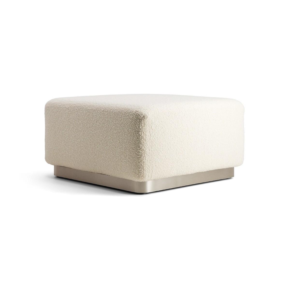 Rotondo Footstool in Cream White Curly Wool