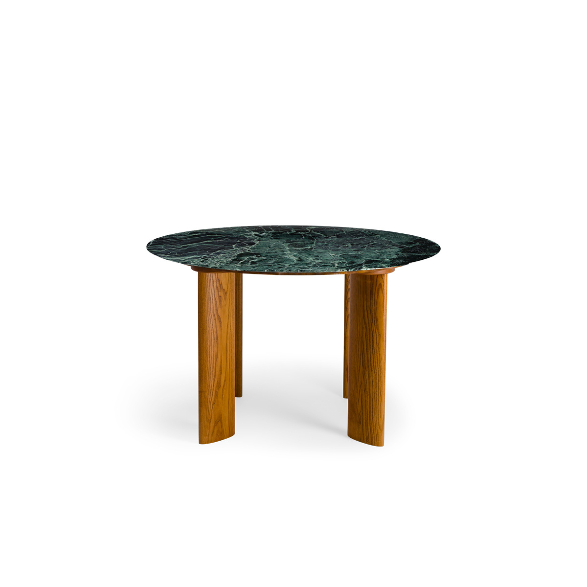 Carlotta Alta Dining Table Green Marble and Iroko Finish Legs - 4 Seats