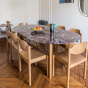 Carlotta Alta Dining Table Red Marble and Iroko Finish Legs - 8 Seats