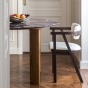 Carlotta Alta Dining Table Red Marble and Iroko Finish Legs - 4 Seats
