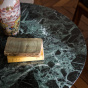 Carlotta Coffee Table, Iroko Finish Legs and Green Marble