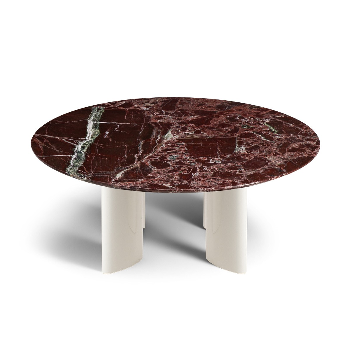 Carlotta Coffee Table, Cream White Lacquered Legs and Red Marble