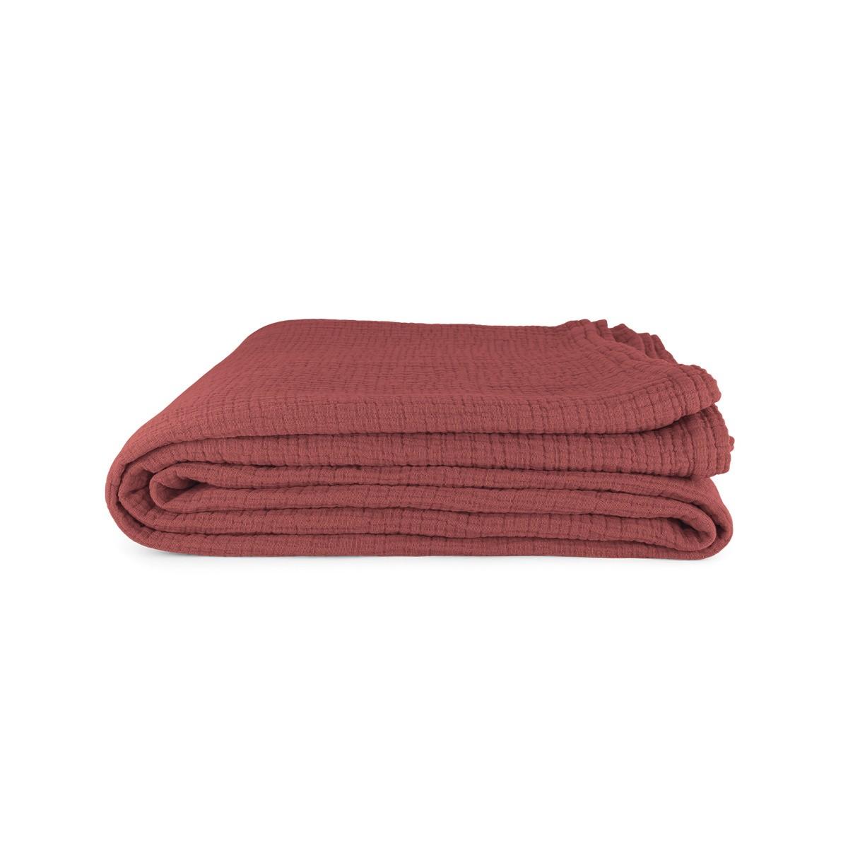 Allegra Tablecloth in Brick Red Cotton Gauze