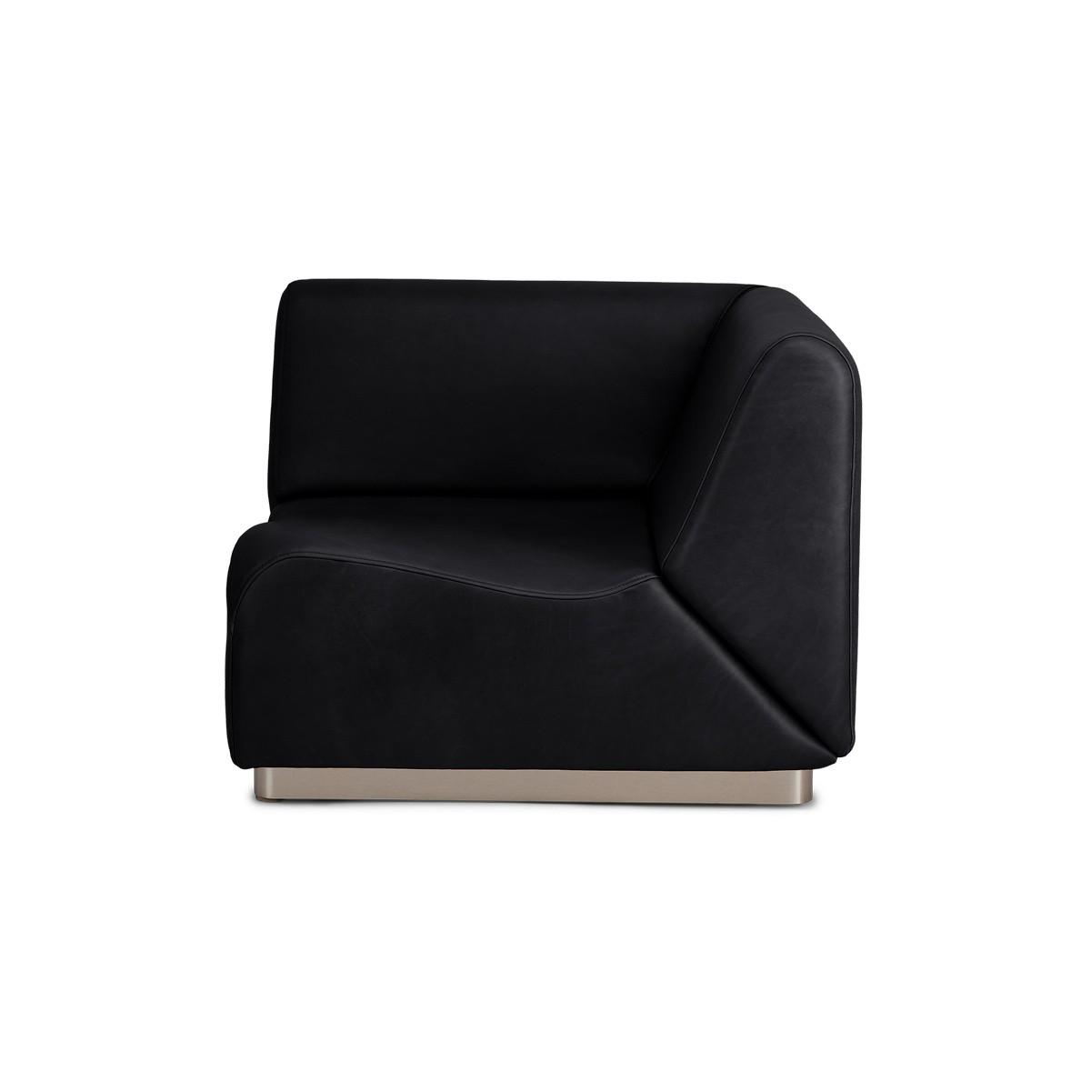 Rotondo Corner Module in Black Leather