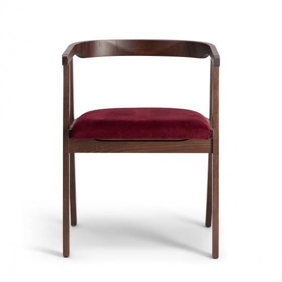 Chaise Milano bois brun velours côtelé prune
