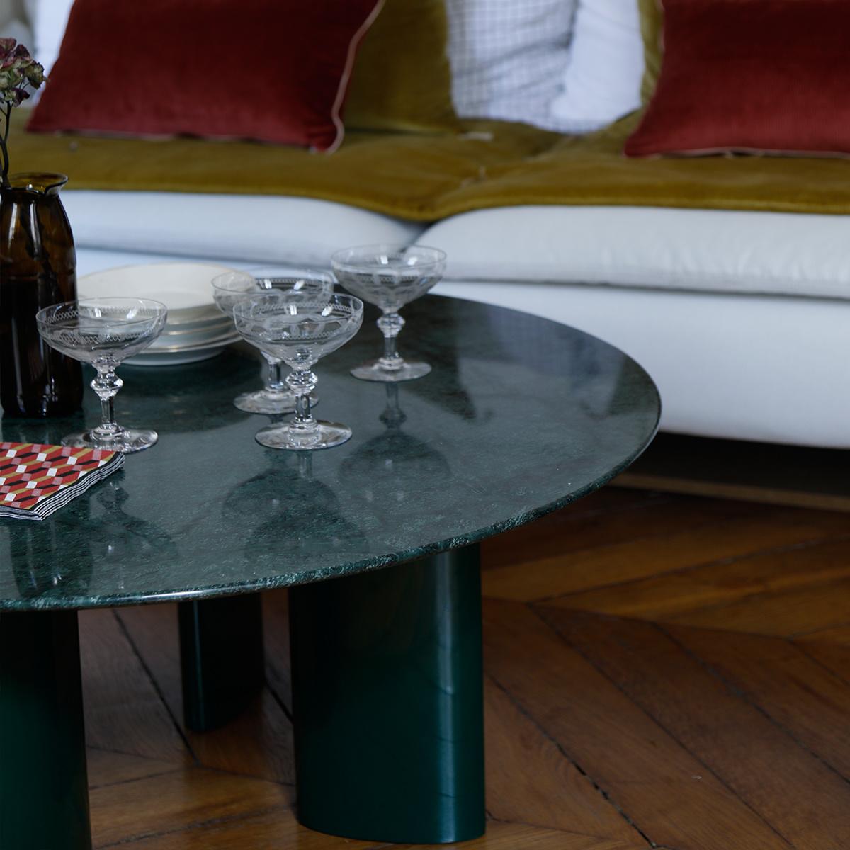 Table Basse Marbre Vert.Table Basse Carlotta Pieds En Bois Laque Vert Et Plateau En Marbre Vert
