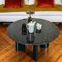 Table basse Carlotta pieds laques vert et marbre noir