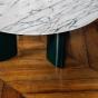 Table basse Carlotta pieds laques vert et marbre blanc