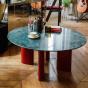Table basse Carlotta pieds laques rouge et marbre vert