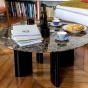 Table basse Carlotta pieds laques noir et marbre marron