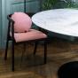 Chaise Milano bois brun coton rayé rouge et blanc