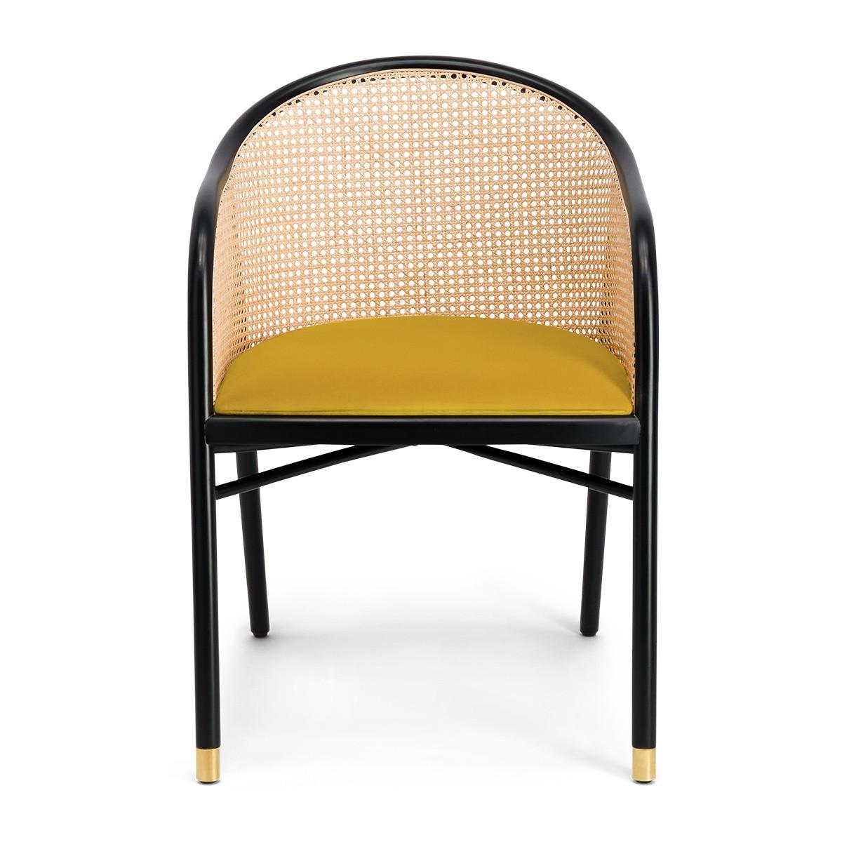 Fauteuil Cavallo noir velours jaune