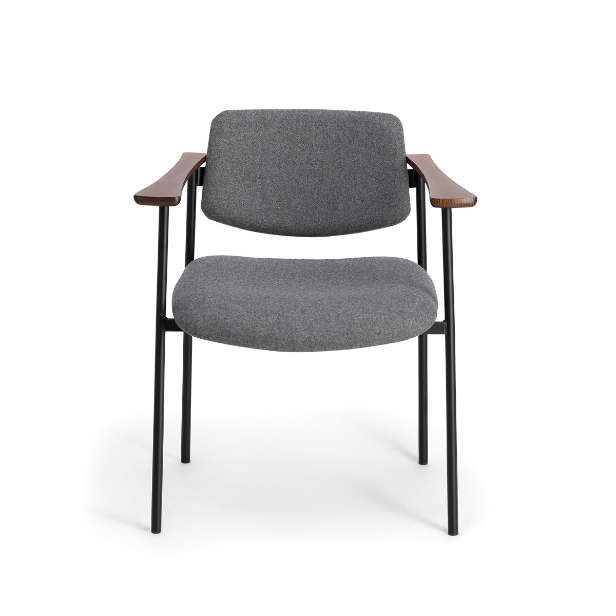 Chaise Pio bois brun feutre gris