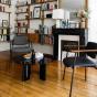 Chaise Pio bois brun cuir noir