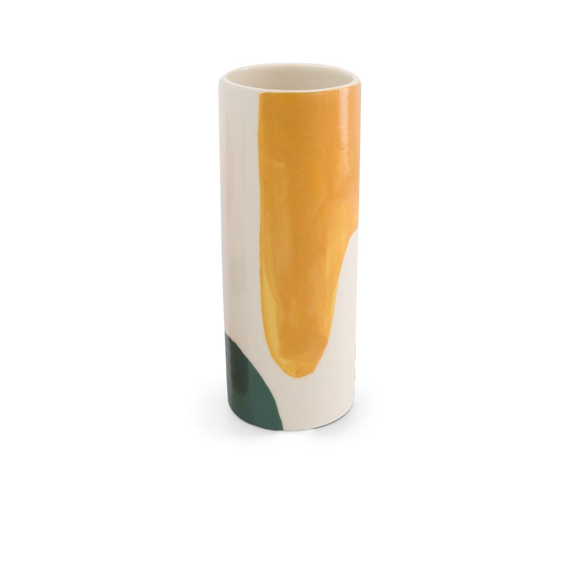 Pot Domino grand modèle motif vert et moutarde
