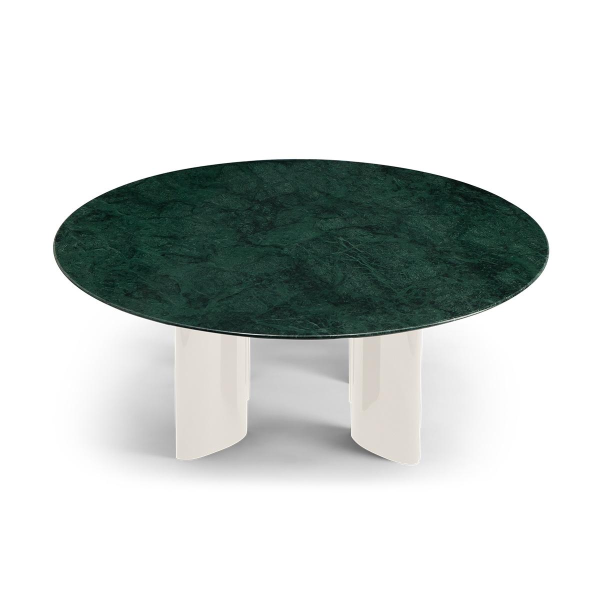 Table basse Carlotta pieds laqués blanc crème et marbre vert