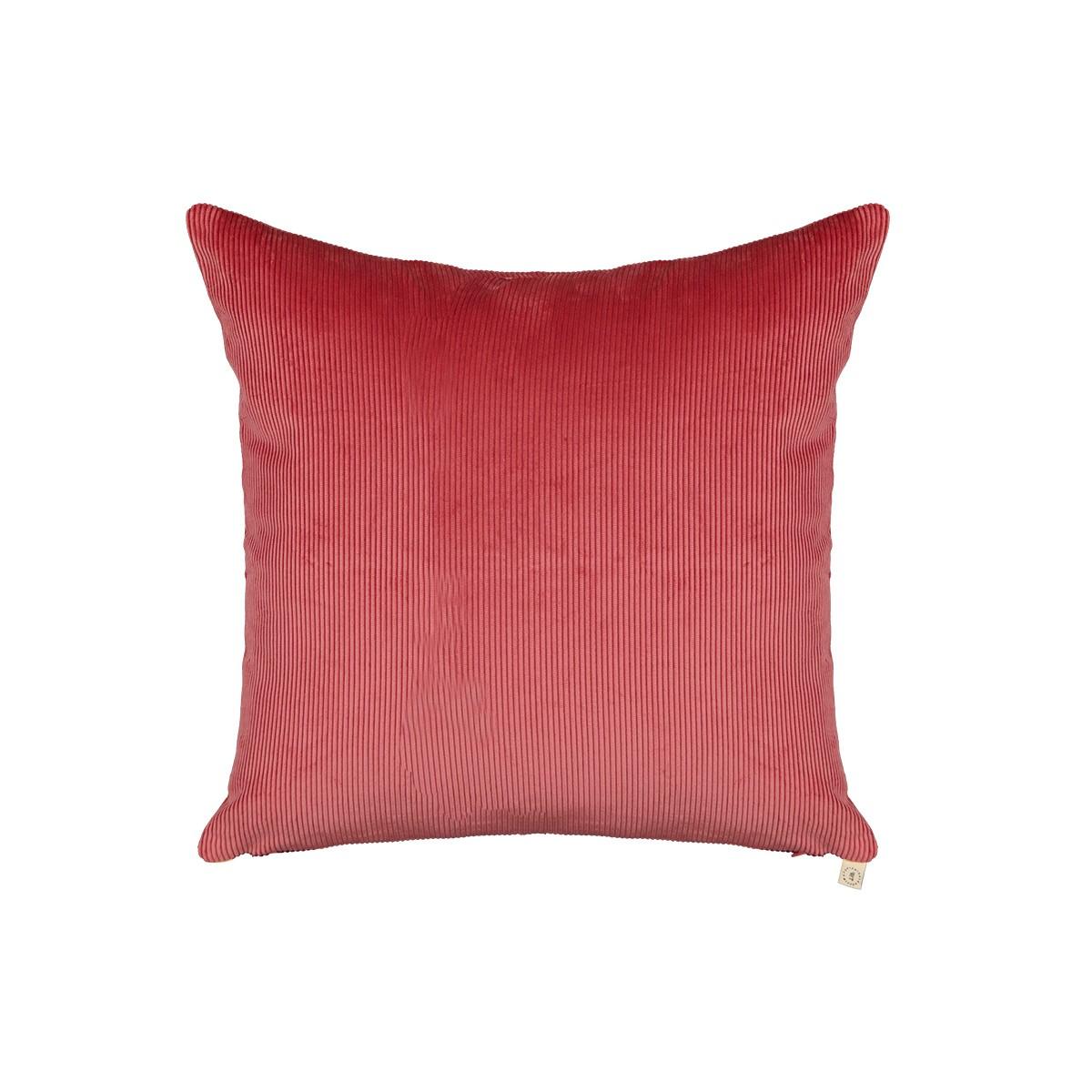 Coussin Carino velours côtelé rose